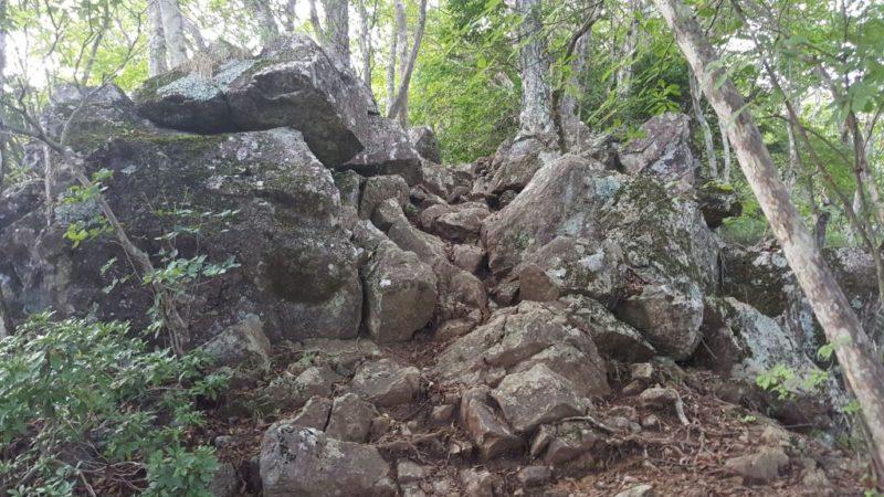 三頭山付近の岩場