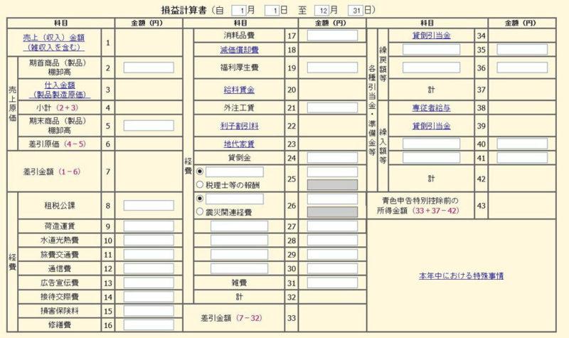 青色申告決算書・収支内訳書コーナーの損益計算書