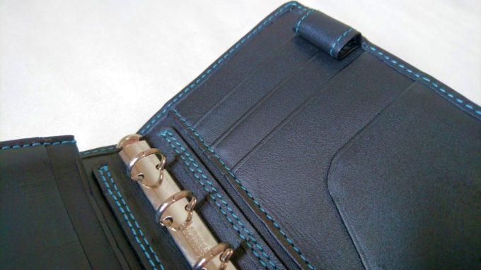 アシュフォードのミニ5穴手帳、カード入れとペンホルダー