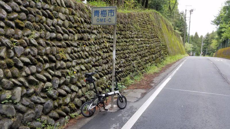 梅ヶ谷峠の頂上部分(Dahon K3)